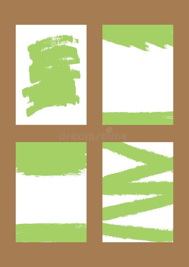 Satz vertikale Hintergründe mit grünen Bürstenanschlägen Schmutz, Skizze, Watercolour, Graffiti stock abbildung