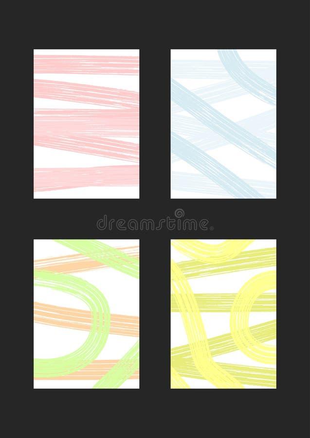 Satz vertikale modische Hintergründe Schmutz, Skizze, Watercolour, Farbe stock abbildung