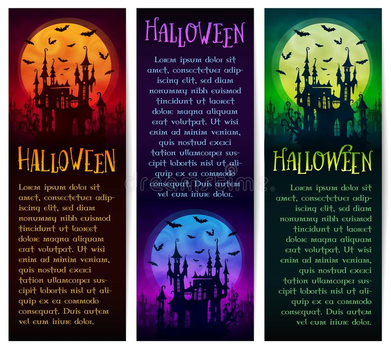 Satz vertikale Vektor Halloween-Fahnen mit großem Mond, Geistschloss und Schlägerschattenbildern auf dunklem Hintergrund lizenzfreie abbildung