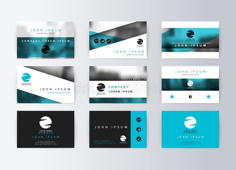 Satz Visitenkarten, blauer Hintergrund Schabloneninformationskarte stockfoto
