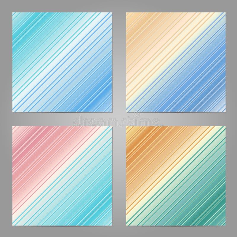 Satz von 4 abstrakten geometrischen Hintergründen Unscharfe Fahnenschablone stock abbildung