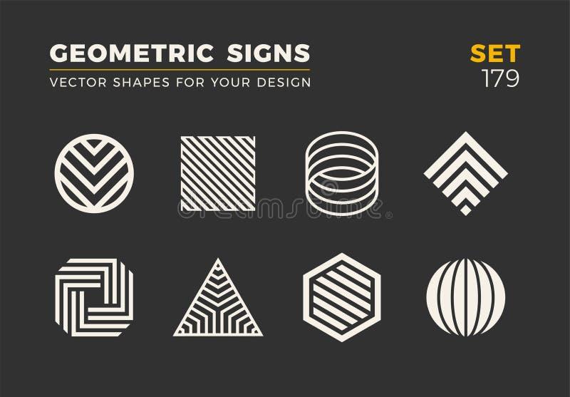 Satz von acht minimalistic modischen Formen Stilvolle Vektorlogoembleme für Ihr Design Einfache geometrische Zeichensammlung vektor abbildung