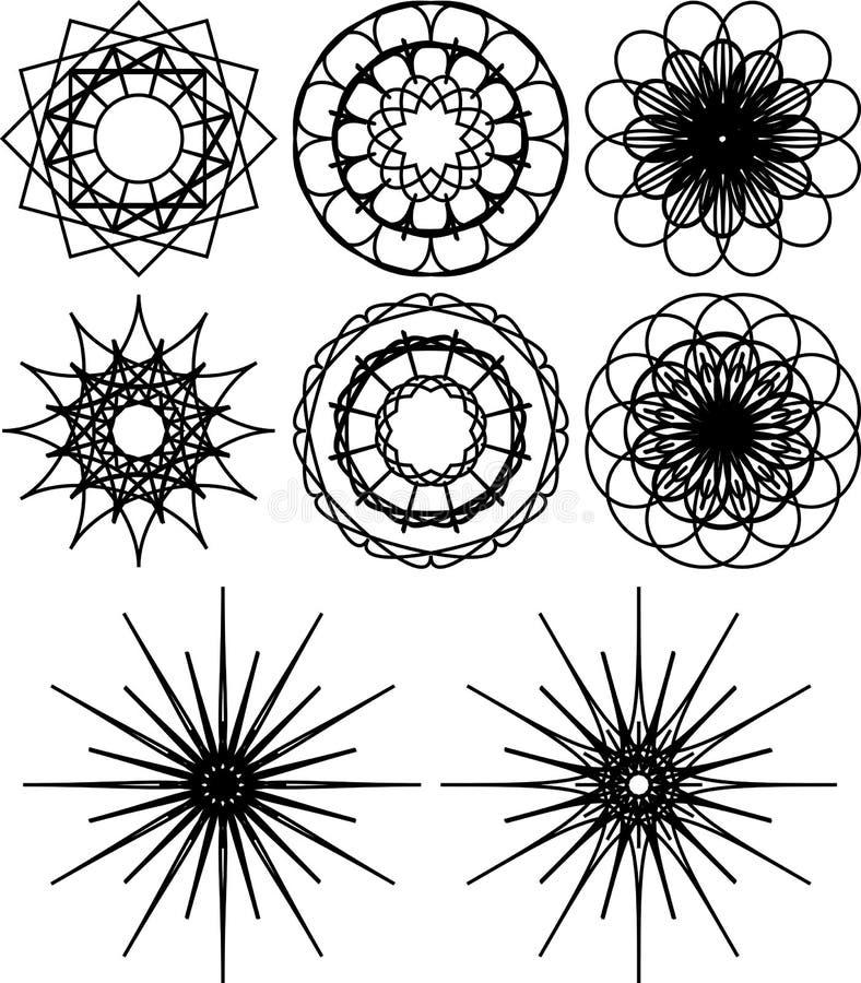 Satz Von Acht Spirographformen Schwarzweiss-Entwurf Blumen Und ...