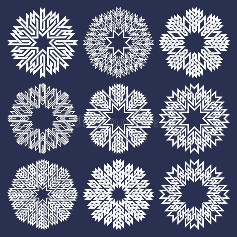 Satz von acht zeigte Kreismuster in den orientalischen schneidenen Linien Art Neun weiße Mandalen in der Schneeflockenform vektor abbildung