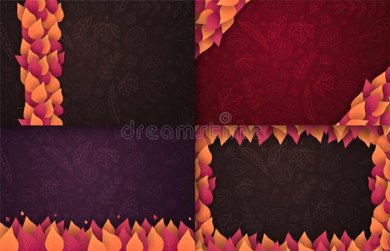 Satz von Autumn Backgrounds mit Blättern für Einkaufsverkauf, Promoplakat und Rahmenbroschüre, Netzfahne Vektorillustrationsschab stock abbildung