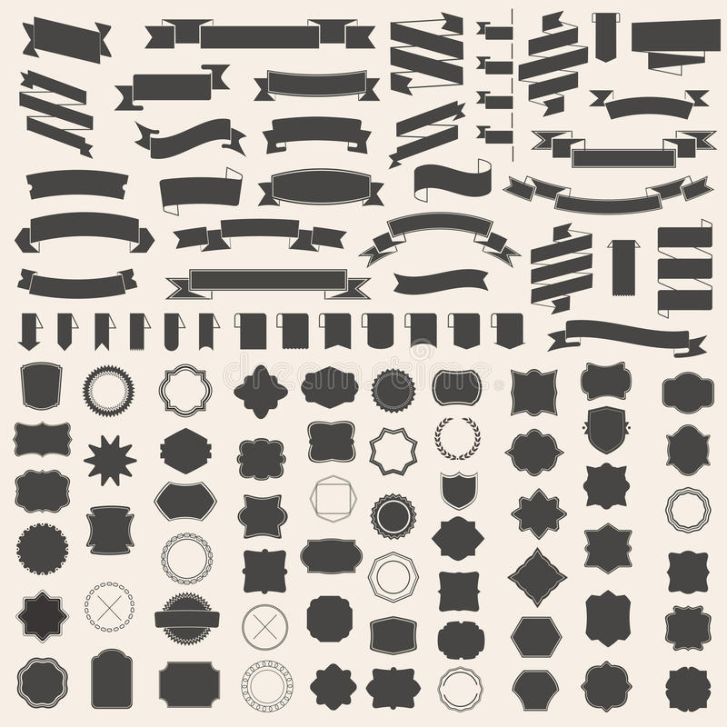 Satz von Bändern und von Rahmen, Ausweis, Aufkleber Vektorschablonen für Ihr Design vektor abbildung