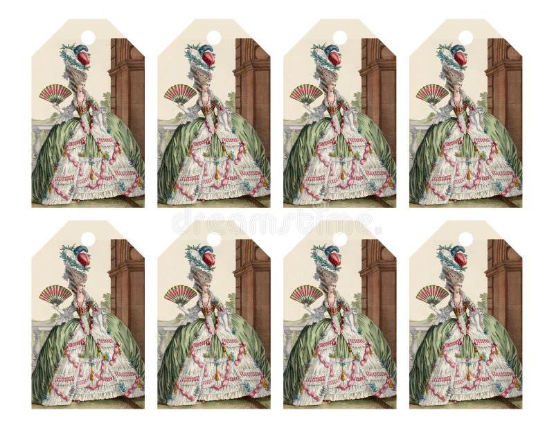 Satz von 8 bedruckbaren Geschenktags mit moderner Victorianfrau mögen Marie Antoinette lizenzfreie stockfotografie
