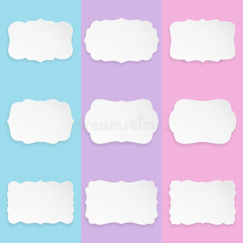 Satz von 9 dekorativen eleganten Papierformaufklebern mit Schatten Moderne Rahmen mit Schatten lizenzfreie abbildung