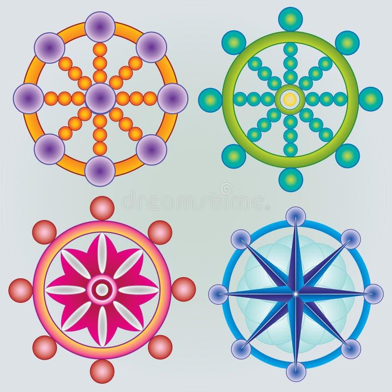 Satz von Dharma Wheels - Buddhismus-Symbol - Farben vektor abbildung
