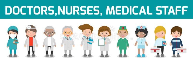 Satz von Doktor, Krankenschwestern, Medizinpersonal in der flachen Art lokalisiert auf weißem Hintergrund Mannschaftsarztkrankens stock abbildung