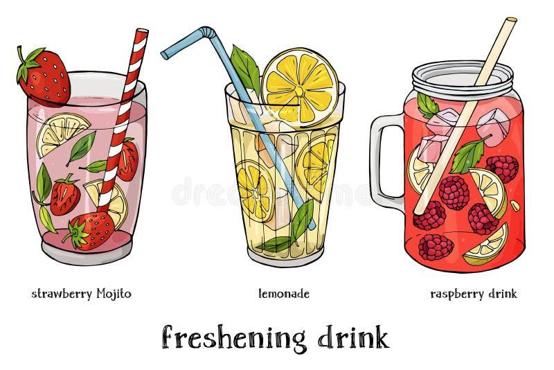 Satz von drei Auffrischungssommergetränken Cocktail der Erdbeere- Mojito, Limonaden- und Himbeeren stock abbildung