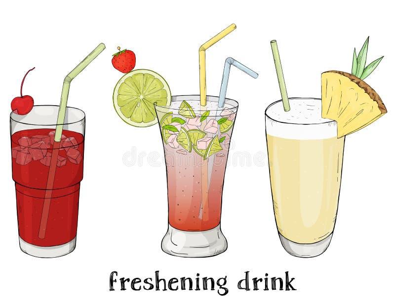 Satz von drei Auffrischungssommergetränken Kirsche, Mojito und Milchshake lizenzfreie abbildung