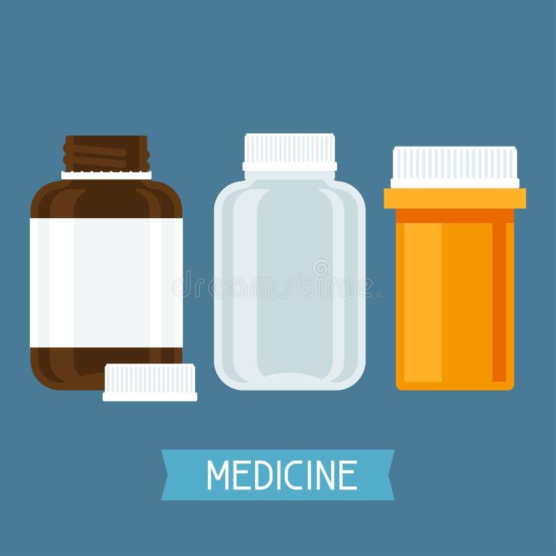 Satz von drei medizinischen Flaschen mit Pillen vektor abbildung