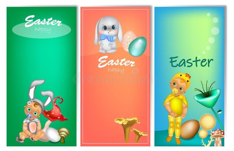 Satz von drei vertikalen Ostern-Fahnen mit netten Kindern im Kostüm lizenzfreie abbildung
