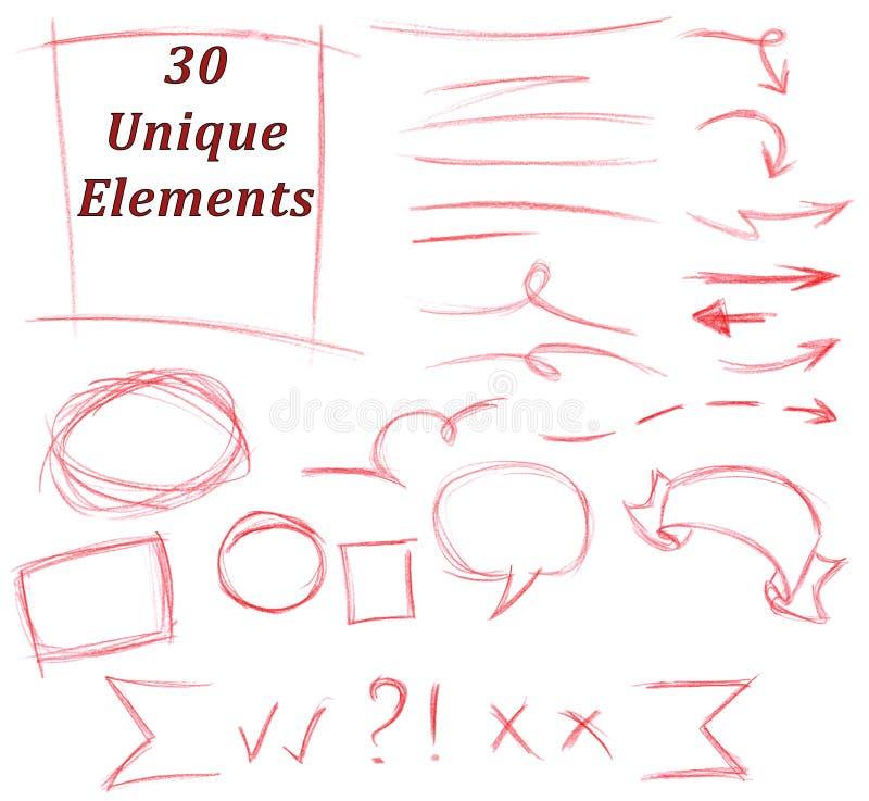 Satz von 30 einzigartigen Bleistift-Zeichnungs-Elementen: Flourish, Anschläge, Linien, Pfeile, Zeichen, Textbereiche, Rahmen stock abbildung