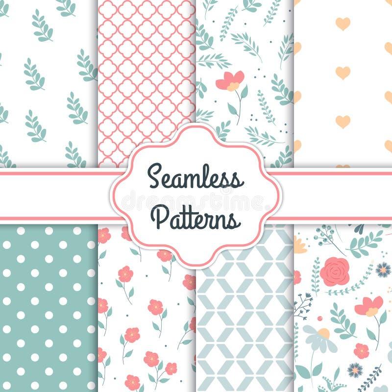 Satz von 8 eleganten nahtlosen Mustern mit dekorativen Blumen, Gestaltungselemente Blumenmuster für Heiratseinladungen, Auto grüß lizenzfreie abbildung