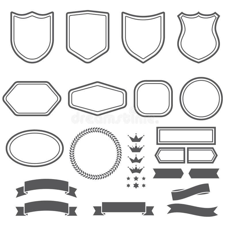 Satz von Elementbändern und -emblem bildet sich für schaffen Firmenzeichen lizenzfreie abbildung