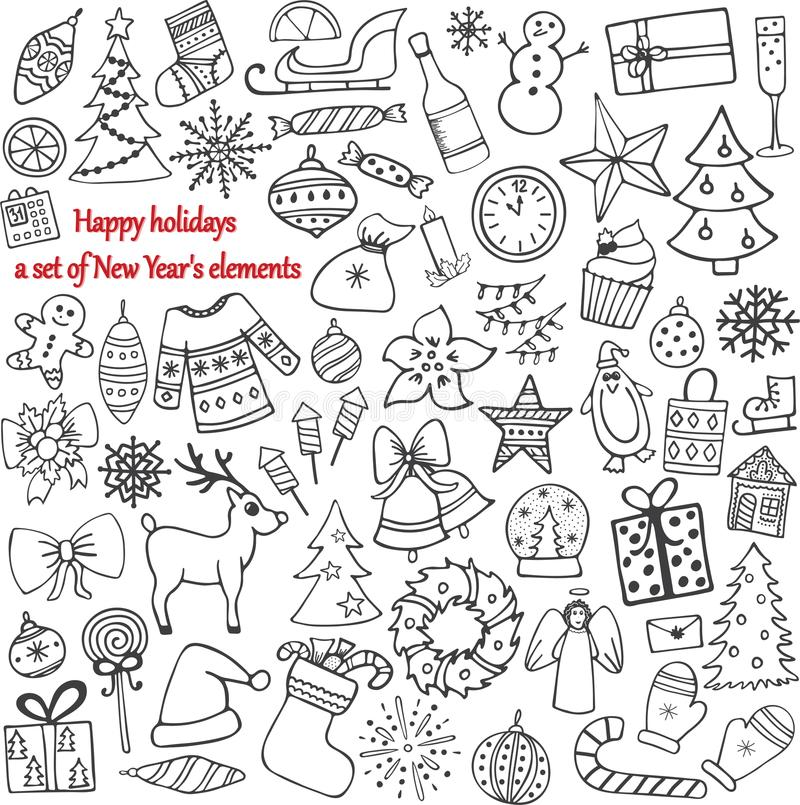 Satz von 58 Elementen des Designs Das reizende von Hand gezeichnete neues Jahr ` s stock abbildung