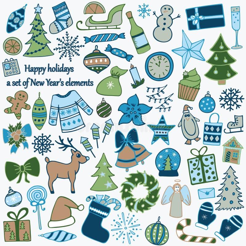 Satz von 58 Elementen des Designs Das reizende von Hand gezeichnete neues Jahr ` s I lizenzfreie abbildung