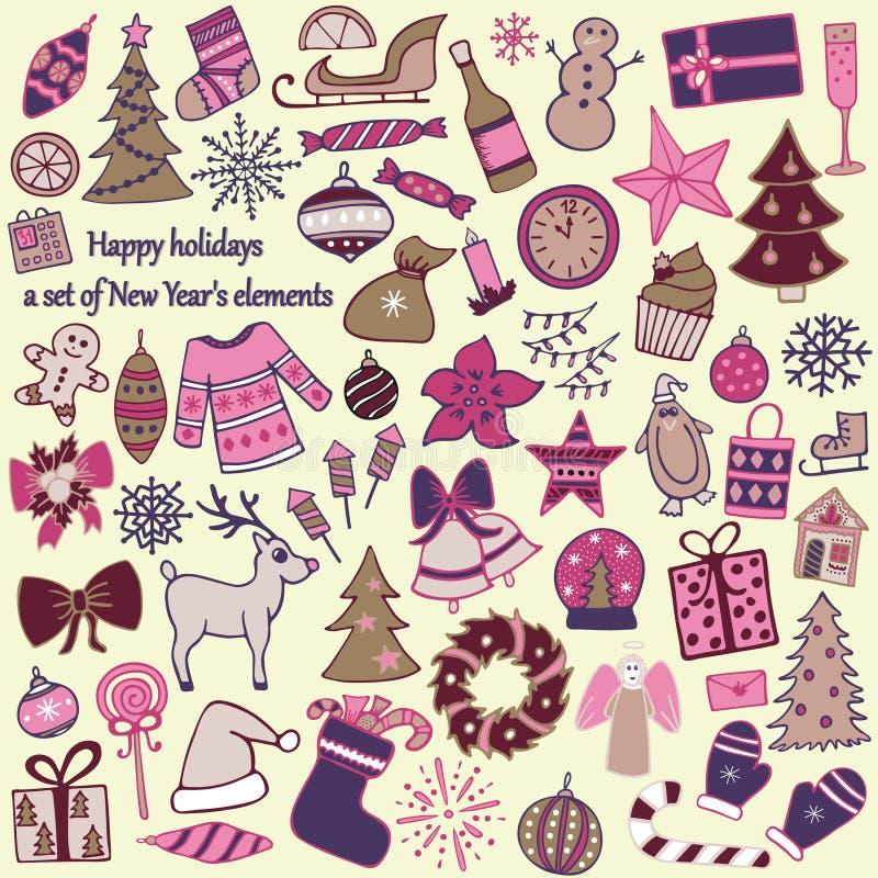 Satz von 58 Elementen des Designs Das reizende von Hand gezeichnete neues Jahr ` s I stock abbildung