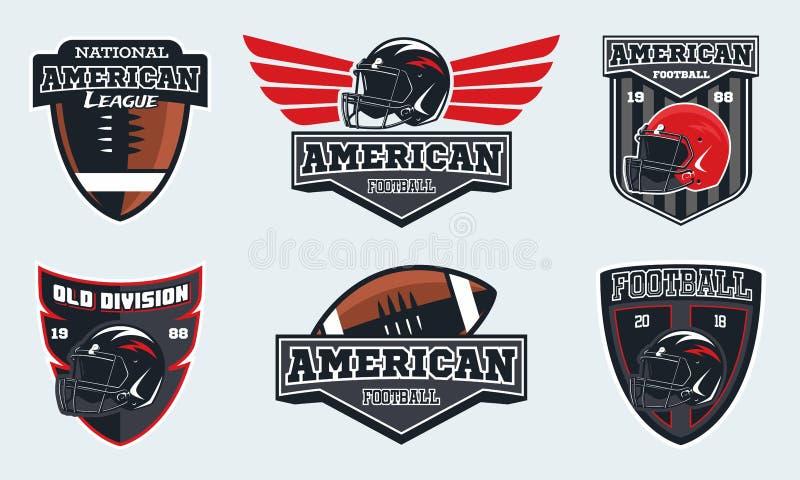 Satz von Emblemen, von Aufklebern und von Logo des amerikanischen Fußballs vektor abbildung