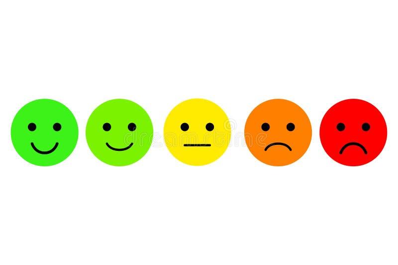 Satz von Emoji Emoticonsvektorikone Veranschlagen für Netz oder APP lizenzfreie abbildung