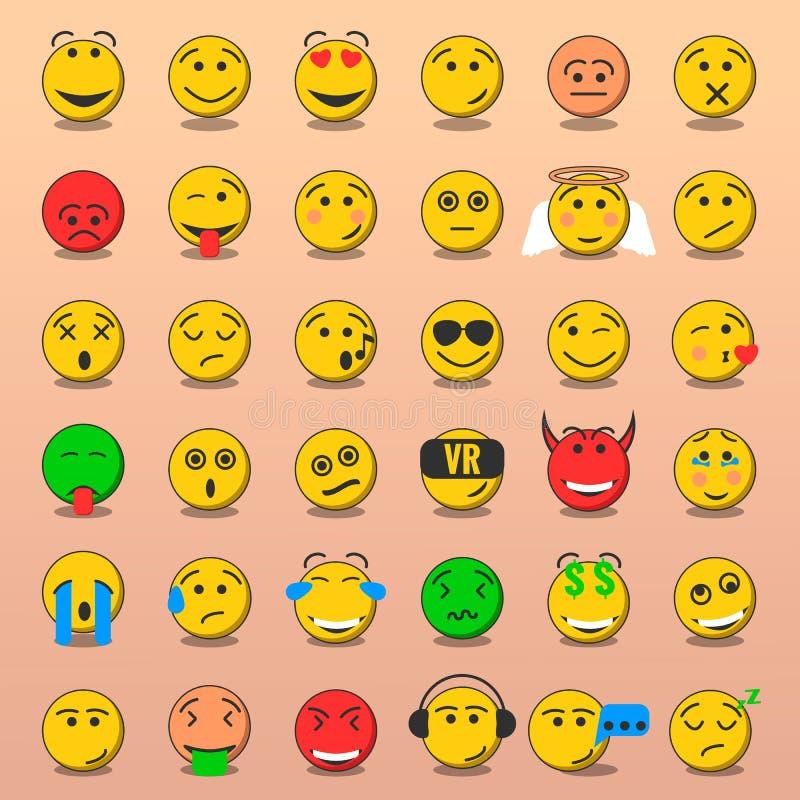 Satz von Emoji, Lächeln Emoji stellt flache Art gegenüber lizenzfreies stockbild