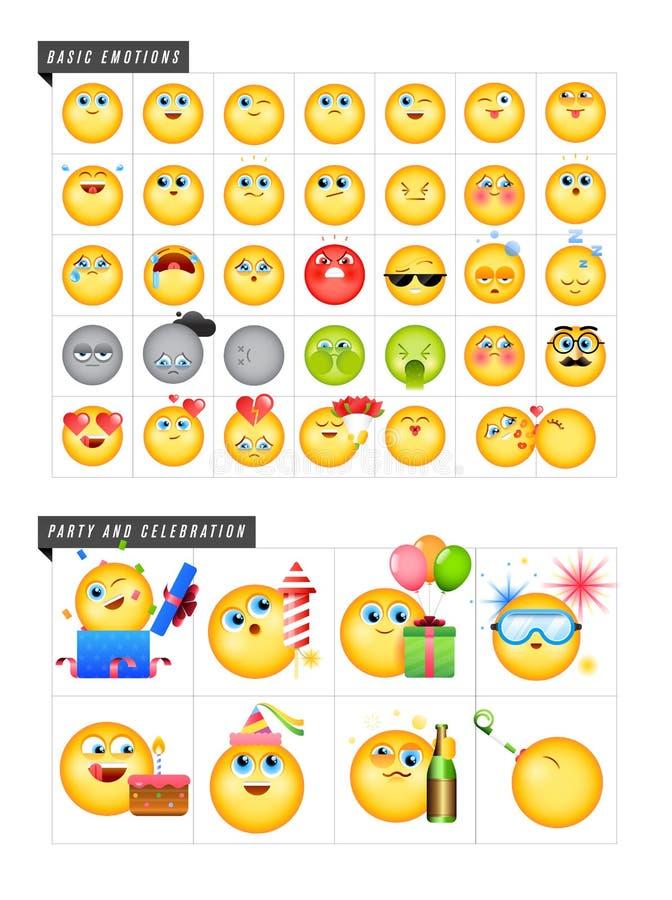 Satz von 42 Emoticons lizenzfreies stockfoto