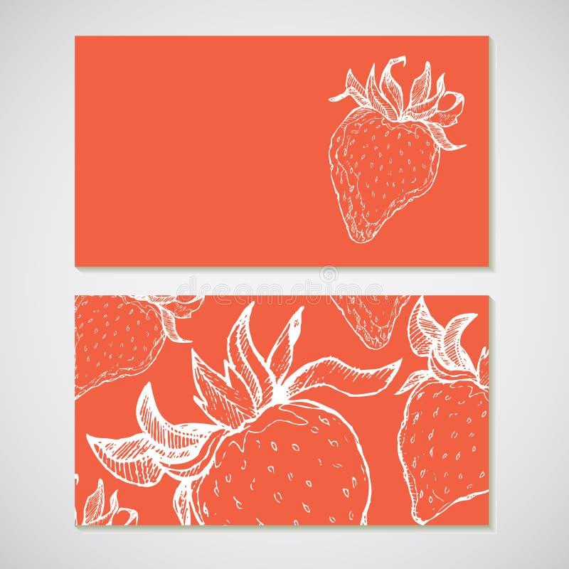 Satz von 2 führte Visitenkarten mit Erdbeerskizze einzeln auf Für CAF stock abbildung