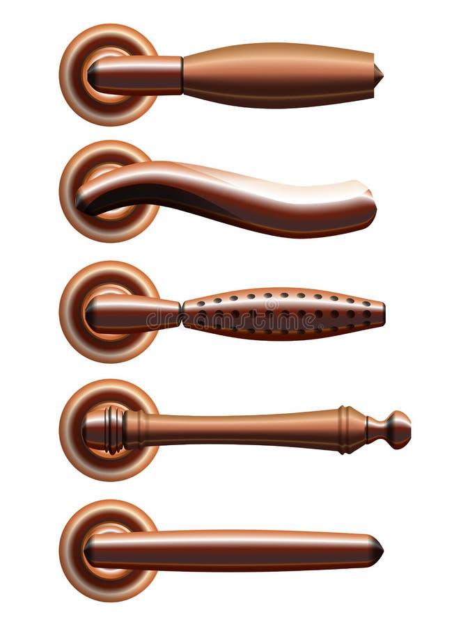 Satz von fünf Arten Bronzetürgriffe vektor abbildung