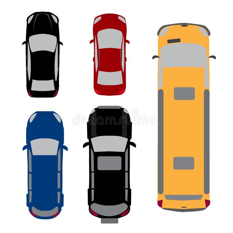 Satz von fünf Autos Coupé, Limousine, Lastwagen, SUV, Mehrzweckfahrzeug Ansicht von oben Abbildung lizenzfreie abbildung