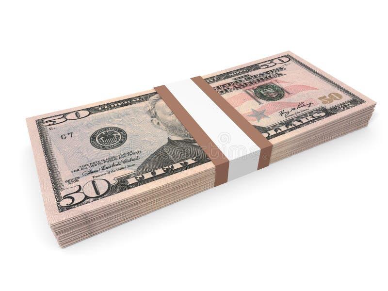 Satz von fünfzig Dollar Banknoten lizenzfreie abbildung