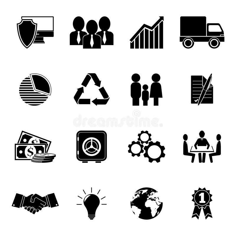 Satz von 16 flachen Geschäftsikonen lizenzfreie abbildung