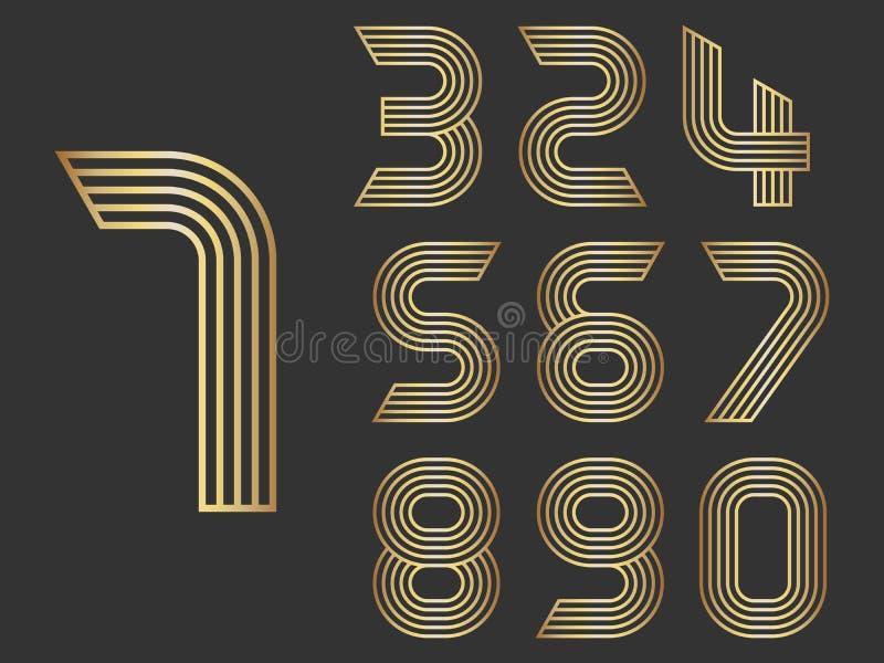 Satz von Form mit zehn Zahlen null bis neun lizenzfreie abbildung