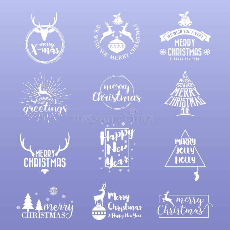Satz von frohen Weihnachten und von guten Rutsch ins Neue Jahr Logo Icon vektor abbildung