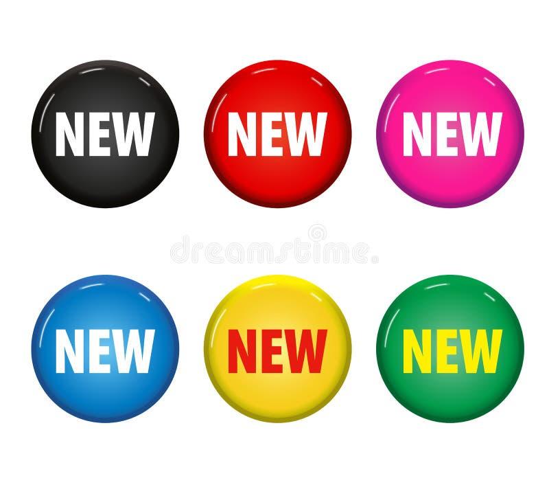 Satz von gefärbt ringsum Knöpfe mit Wort ` neuem ` vektor abbildung