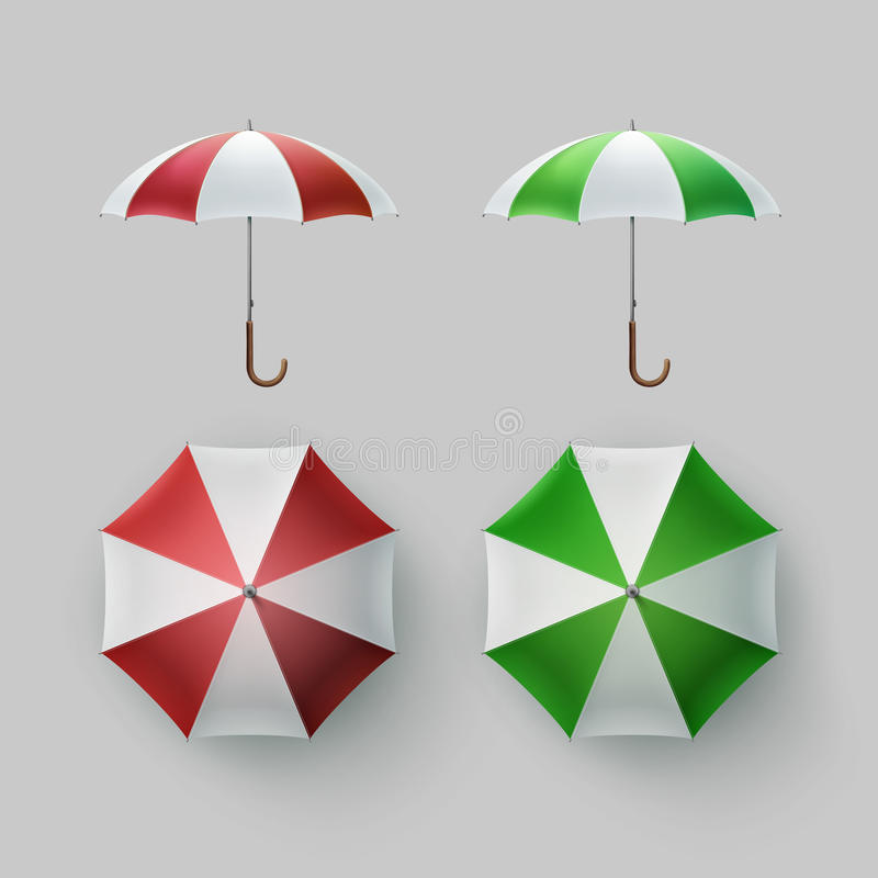 Satz von gestreiftem geöffnet ringsum Regenschirm-Sonnenschirm lizenzfreie abbildung
