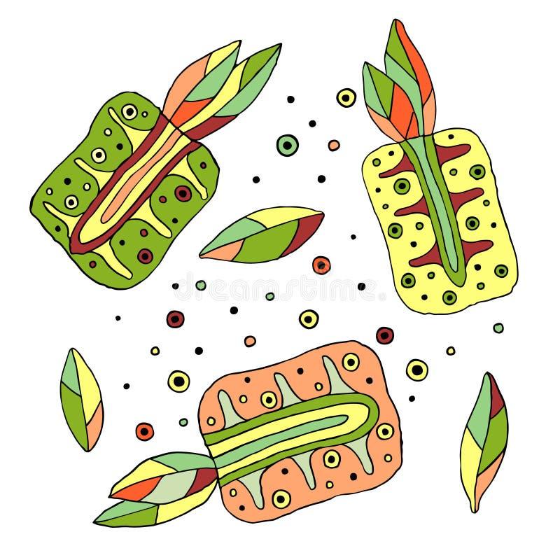 Satz von gezeichnetem kindischem saftigem des Vektors Hand, Früchte Nettes kindliches pimeapple mit Blättern, Samen, Tropfen Gekr stock abbildung
