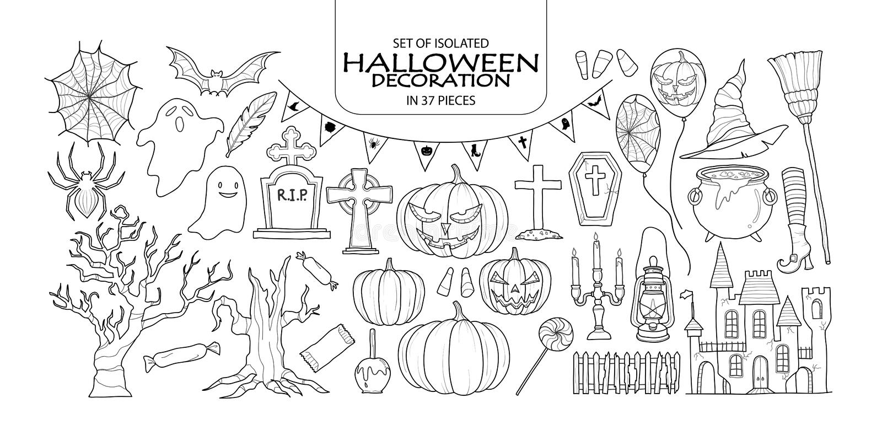Satz von Halloween-Dekoration in 37 Stücken lizenzfreie abbildung
