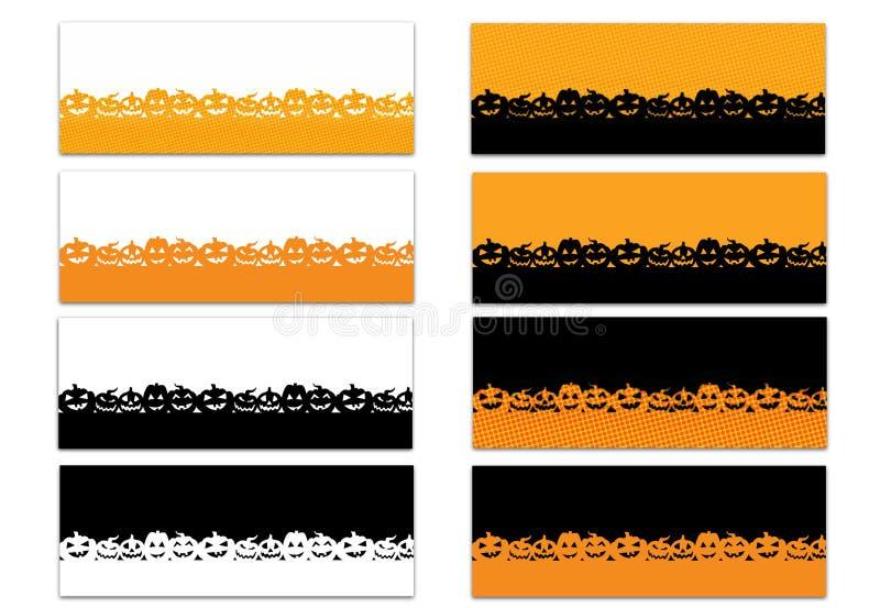 Satz von 8 Halloween-Thema-Facebook-Zeitachse-Abdeckungen lokalisiert auf Weiß vektor abbildung