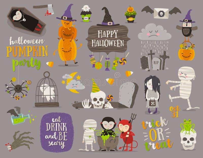 Satz von Halloween-Zeichen und -symbol vektor abbildung