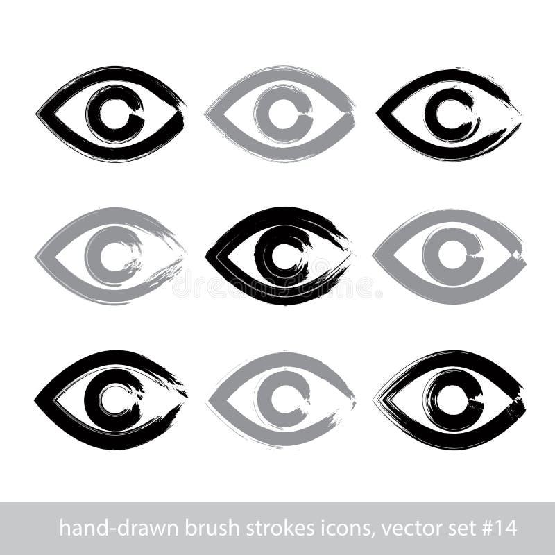 Satz von Hand gezeichnete Ikonen des menschlichen Auges des Anschlags, Sammlung von Bürstendr. stock abbildung