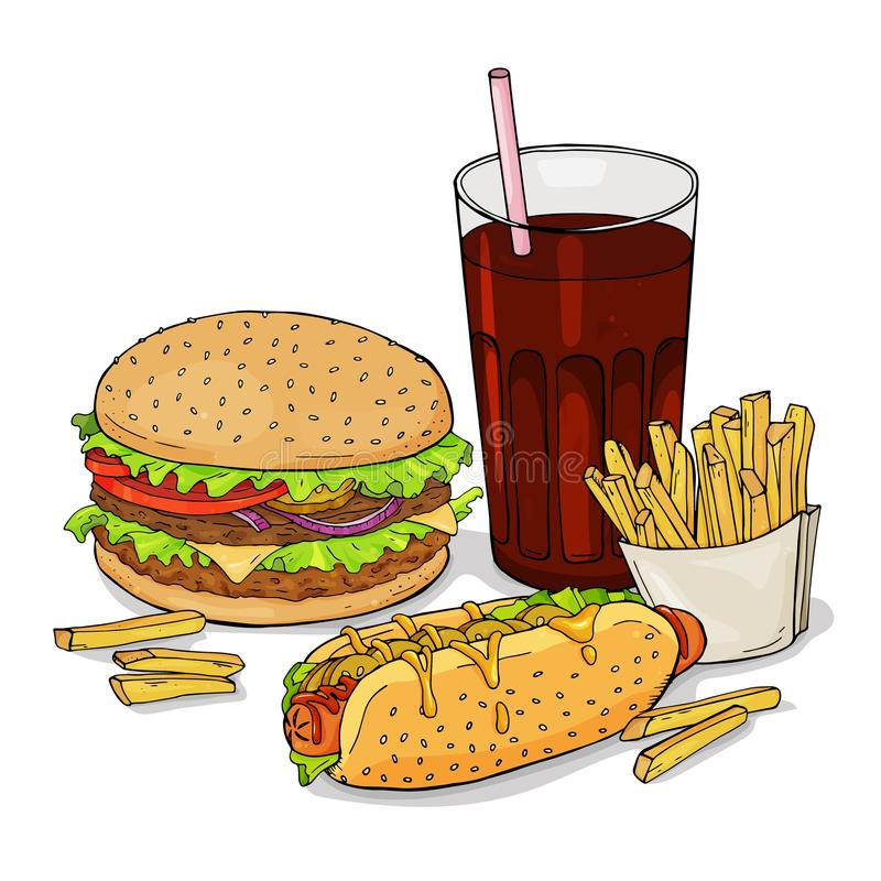 Satz von Hand gezeichneter Schnellimbiß Hamburger, Hotdoge, Fischrogen Vektorillustration in der Skizzenart stock abbildung