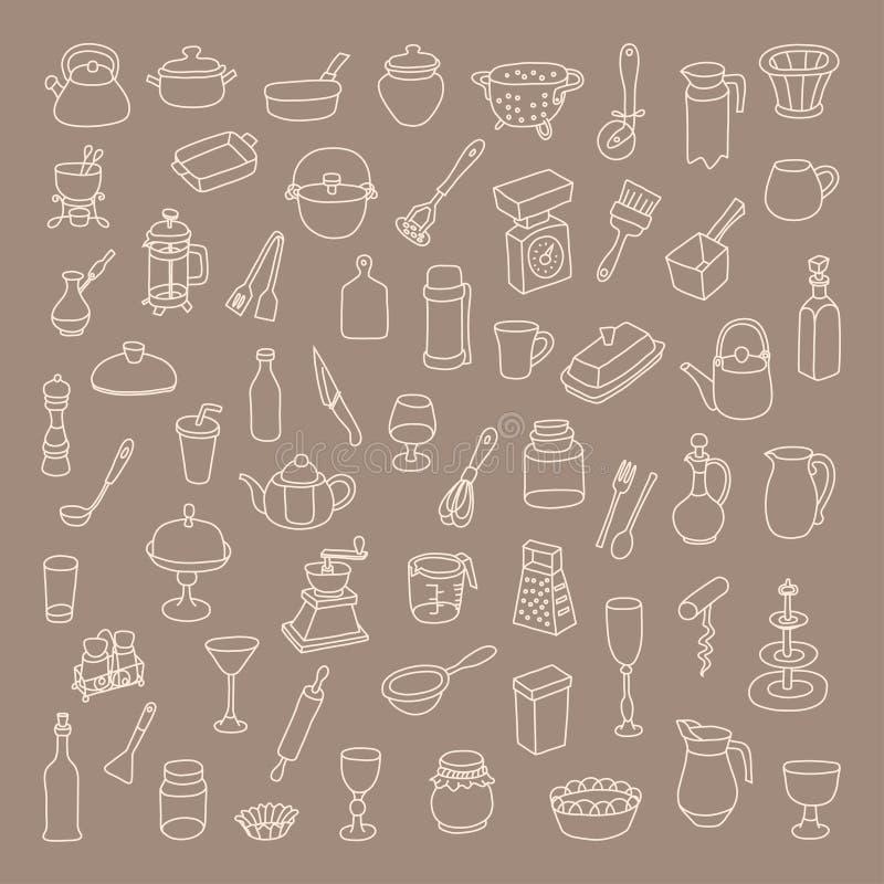 Satz von 60 Ikonen von verschiedenen Arten des Kochgeschirrs lizenzfreie abbildung