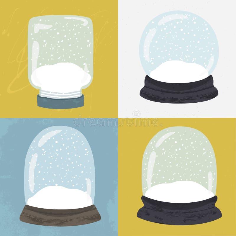 Satz von 4 Illustrationen mit Hand gezeichneter Schneekugel lizenzfreie abbildung