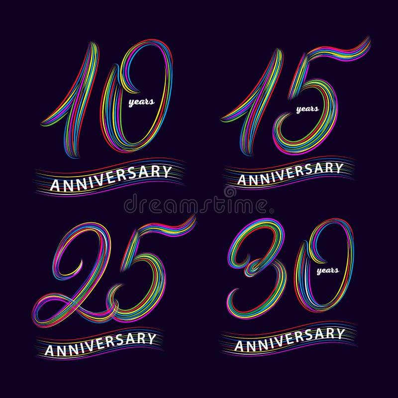 Satz von 10, 15, 25, 30 Jahre Jahrestag Hand geschrieben, Zahlen beschriftend vektor abbildung