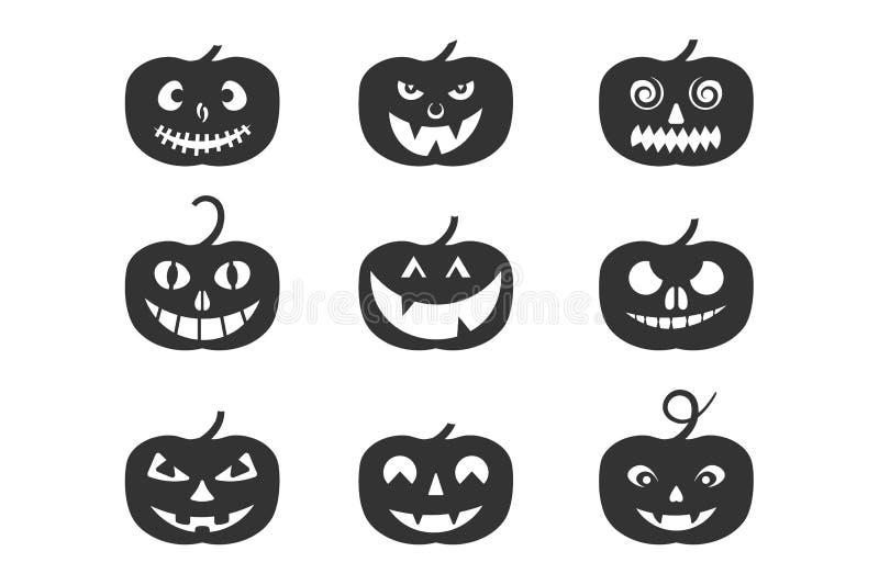 Satz von Kürbis-Halloween-Logo, Zeichen, Symbol Schattenbilddesign lizenzfreie abbildung