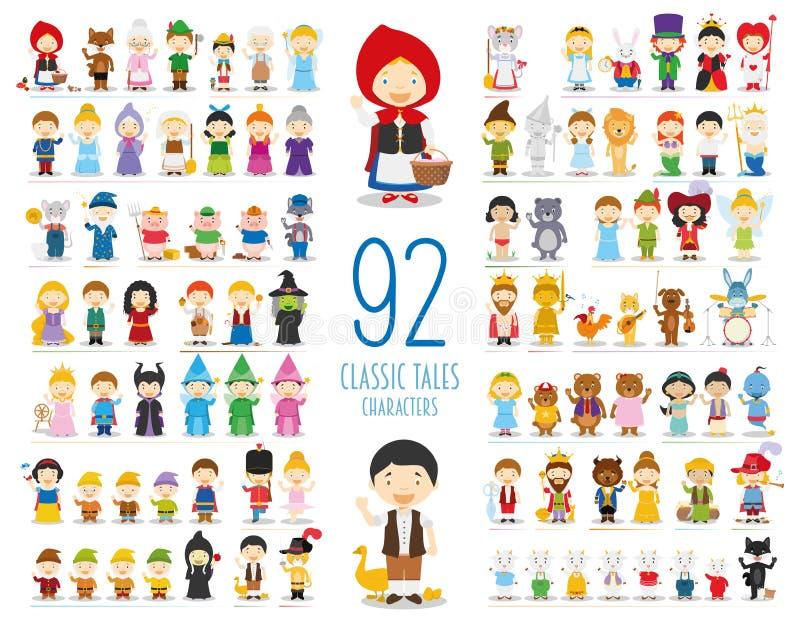 Satz von 92 klassischen Geschichten-Charakteren in der Karikaturart vektor abbildung