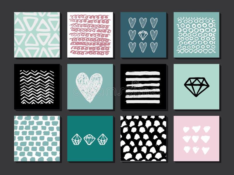 Satz von 12 kreativen Kunstkarten Hand gezeichnete Beschaffenheiten gemacht mit Tinte Vektor lizenzfreie abbildung