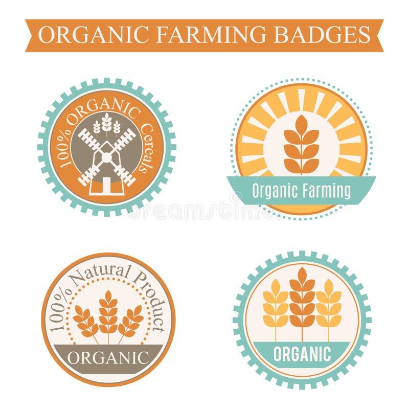 Satz von 4 landwirtschaftlich und von Landwirtschaftsausweisen lizenzfreie abbildung